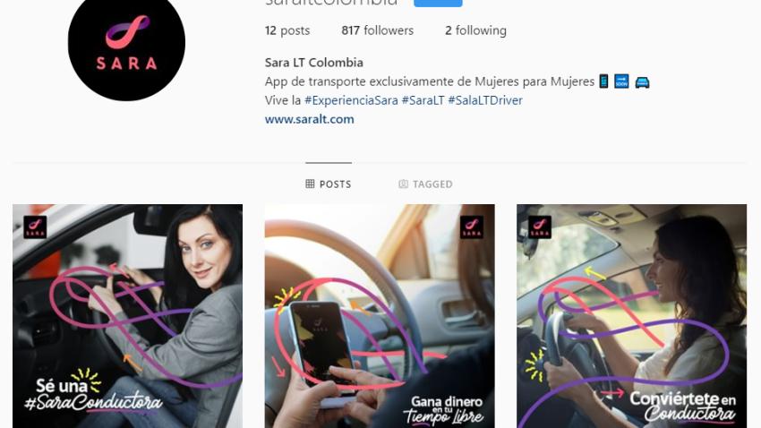 Captura de pantalla de perfil no verificado de aplicación Sara LT, un servicio de taxis de y para mujeres,