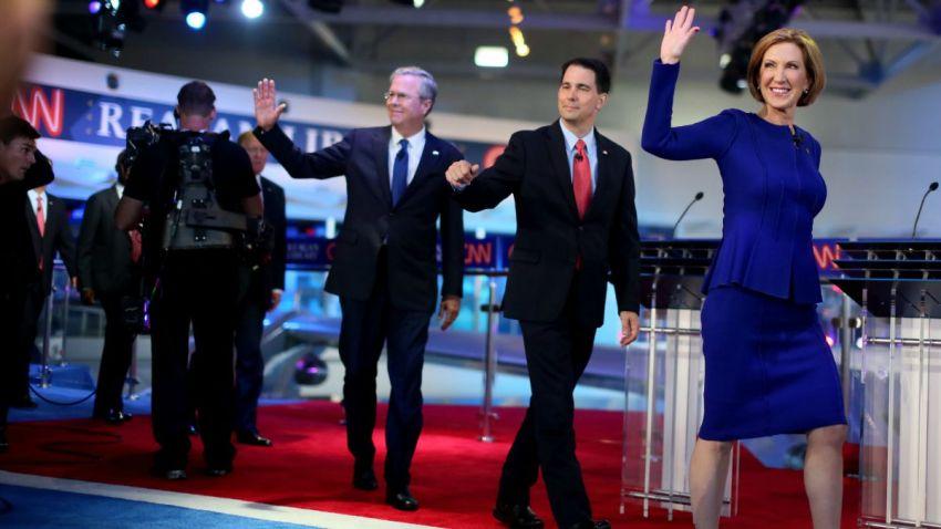 TLMD-carly-fiorina-scott-walker-jeb-bush-debate-republicano-aspirantes-candidatos-republicanos-nominacion-presidencial-Getty-Images-488655666