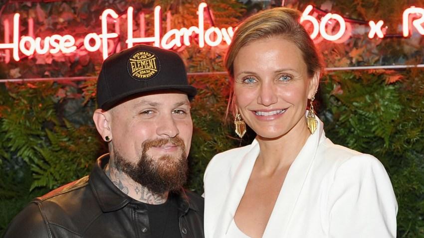 La actriz Cameron Díaz y su esposo, el guitarrista, Benji Madden, en un evento en Los Ángeles en junio de 2016.