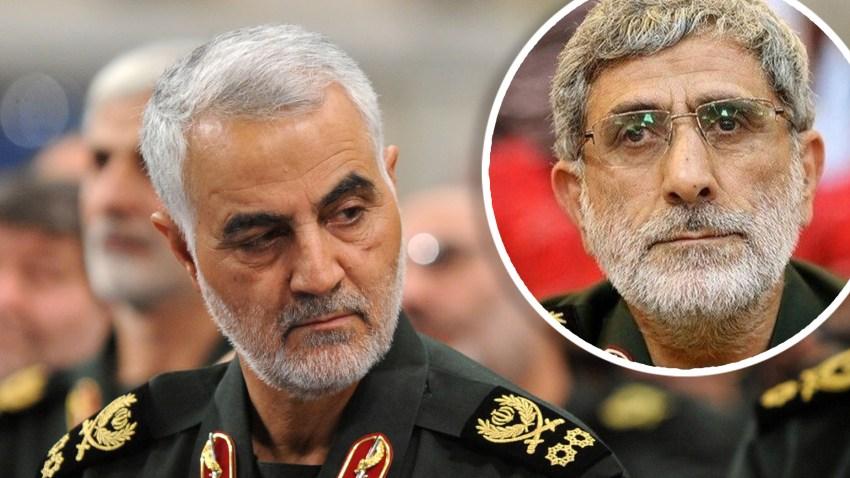 Combinación de fotografías del asesinado Qasem Soleimani y su reemplazo, Esmail Ghaani.