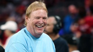 In this July 21, 2019, file photo, Raiders owner and managing general partner Mark Davis attends a game between the Minnesota Lynx and the Las Vegas Aces at the Mandalay Bay Events Center in Las Vegas, Nevada.