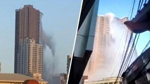 Video: aterradora cascada de agua cae de un rascacielos en pleno terremoto