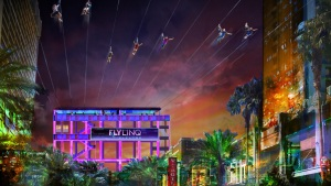 Primera tirolesa en el Strip de Las Vegas cerca de ser inaugurada