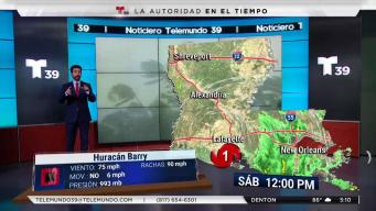 Barry: pronóstico en las próximas horas
