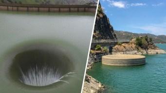 Increíble e histórico espectáculo: imponente agujero en medio de un lago