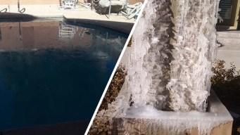 Reportan hielo en varias partes de Las Vegas por frío