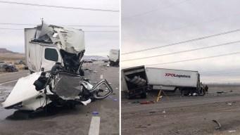 9 vehículos en accidente causan cierre de I15 al sur de LV