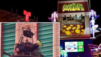 Mujer queda atorada en tirolesa de Las Vegas