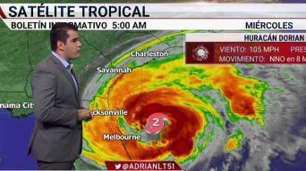 Dorian avanza al noroeste como huracán Categoría 2