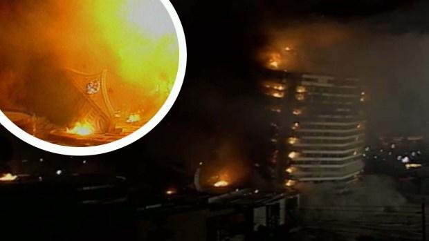 Implosión del hotel y casino Dunes
