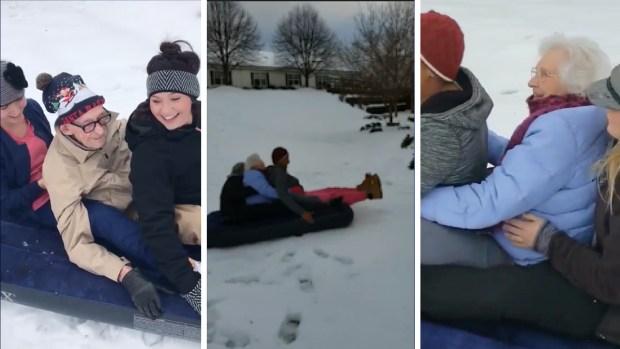 [TLMD - NATL] Viral: abuelitos de más de 90 años se lanzan colina abajo tras nevada