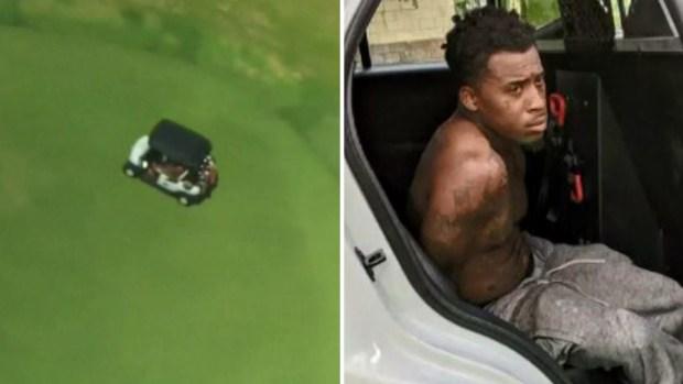 Insólito: sospechoso huye en un carrito de golf