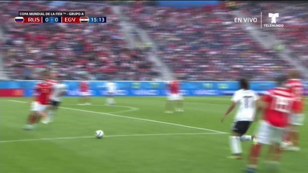 Rusia vs Egipto: poste del arco frustra gol ruso