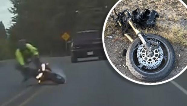 [TLMD - NATL] Sobrevive tras aparatoso choque que dejó su moto partida en dos