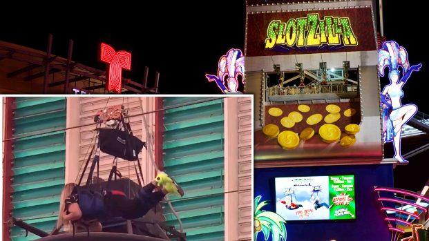 [TLMD - LV] Mujer queda atorada en tirolesa de Las Vegas
