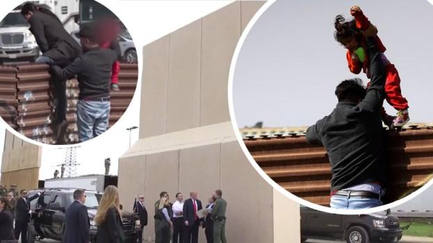 Conmovedora odisea de familia a metros de prototipos del muro fronterizo