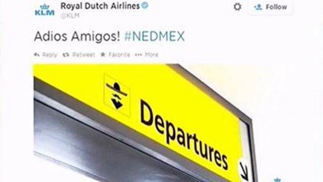 La aerolínea KLM se burla del Tri