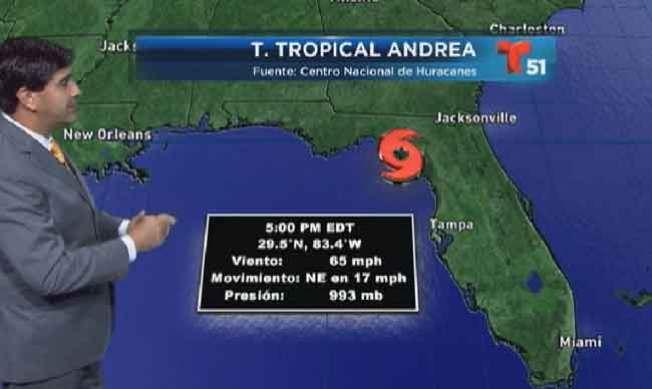 La tormenta Andrea toca tierra