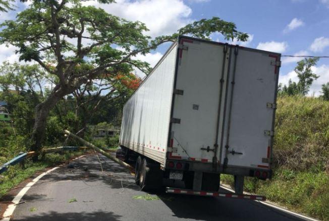 Carriles cerrados por camión que impactó tendido eléctrico
